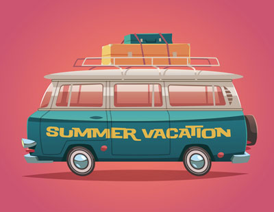 Van with summer vacation written on it